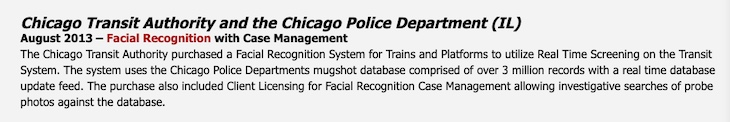 "The DataWorks Plus website states clearly that the vendor built a large real-time face surveillance system for Chicago. (Source: DataWorks Plus website, ""Company News Archives."")"
